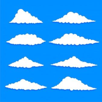 Conjunto de nuvens brancas de forma diferente