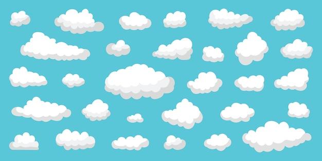 Conjunto de nuvens brancas de várias formas e transparência no céu azul. coleção de nuvens azuis e sombra bonita. desenho bonito e simples. ilustração plana.