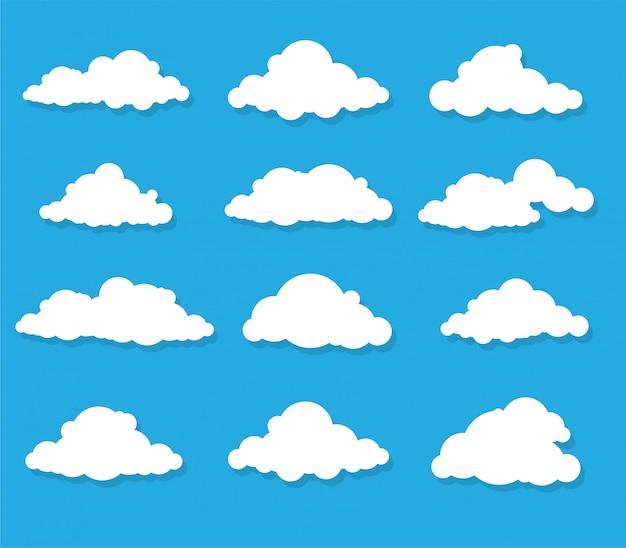 Conjunto de nuvens brancas isolado