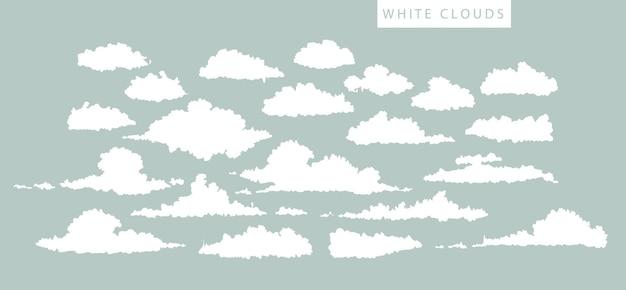 Conjunto de nuvens brancas sobre fundo azul