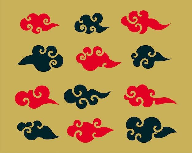 Conjunto de nuvens chinesas vermelhas e pretas decorativas