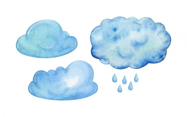 Conjunto de nuvens chuvosas azuis e chuva pintados à mão em aquarela, isolado no fundo branco