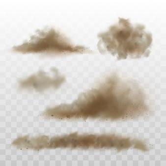 Conjunto de nuvens de areia e poeira