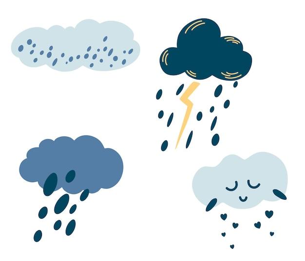 Conjunto de nuvens de desenho animado. ícones bonitos do tempo. nuvens com chuva, granizo, neve, relâmpago e rosto bonito.
