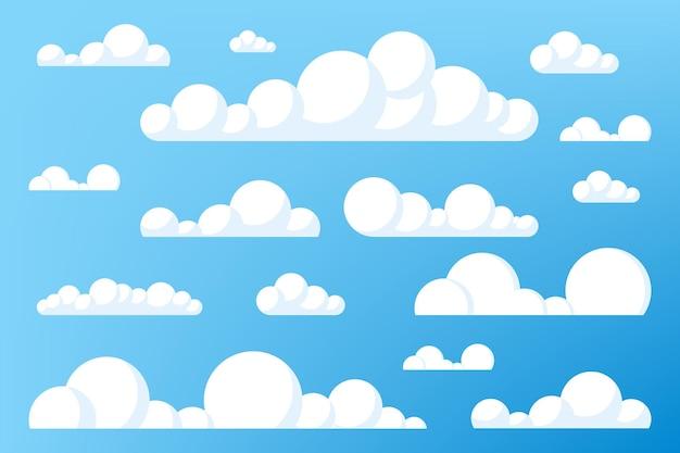 Conjunto de nuvens de desenho sobre o céu azul