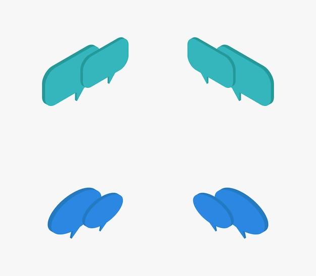 Conjunto de nuvens de diálogo isométrico