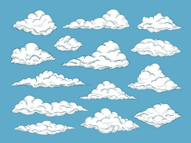 Conjunto de nuvens de mão desenhada