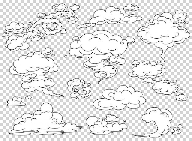 Conjunto de nuvens de vapor de quadrinhos