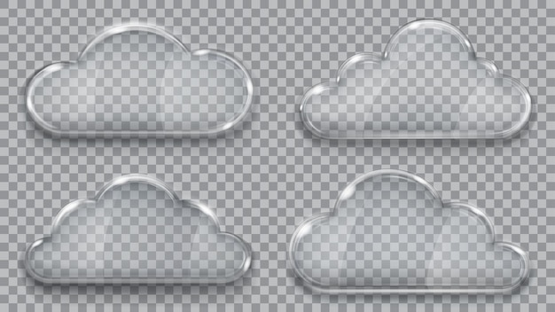Conjunto de nuvens de vidro transparente em cores cinza. .