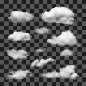 Conjunto de nuvens diferentes realistas transparentes