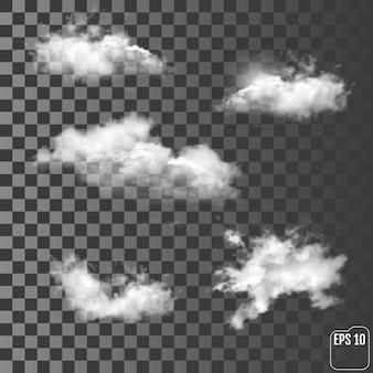 Conjunto de nuvens diferentes transparentes