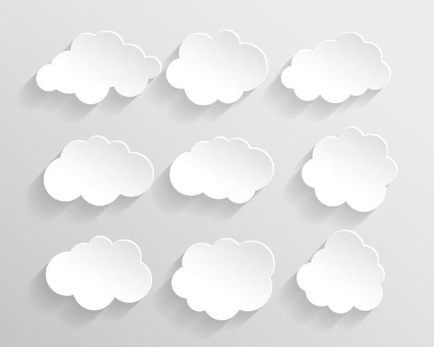 Conjunto de nuvens em estilo de corte de papel
