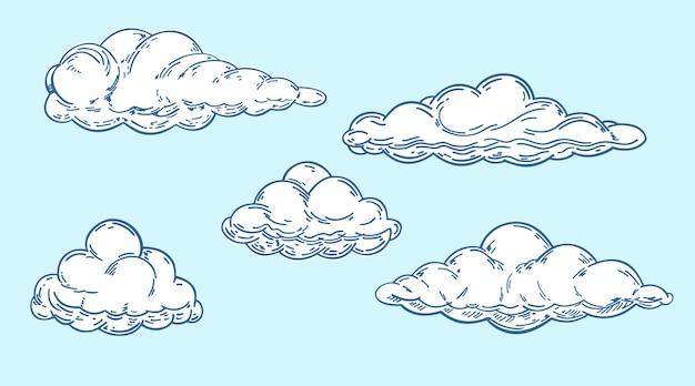Conjunto de nuvens em estilo retro vintage feito à mão em um fundo azul elementos de design de desenho animado