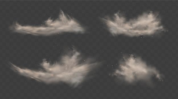 Conjunto de nuvens empoeiradas. fumar com areia, pedras e voar sujo, partículas de poeira do solo isoladas