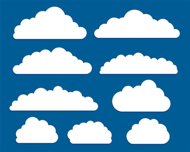 Conjunto de nuvens planas e brancas