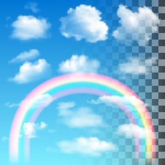 Conjunto de nuvens realistas com arco-íris colorido