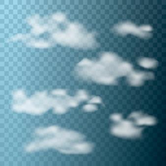 Conjunto de nuvens realistas em fundo transparente