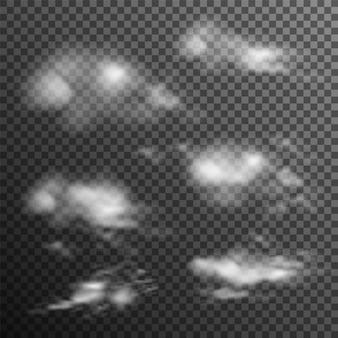 Conjunto de nuvens realistas transparentes