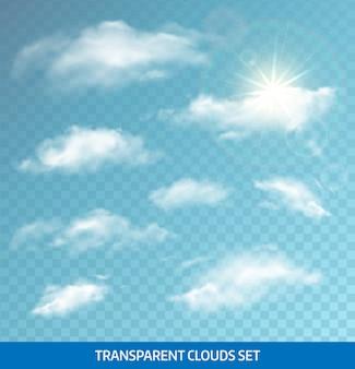 Conjunto de nuvens transparentes realistas. formato eps 10