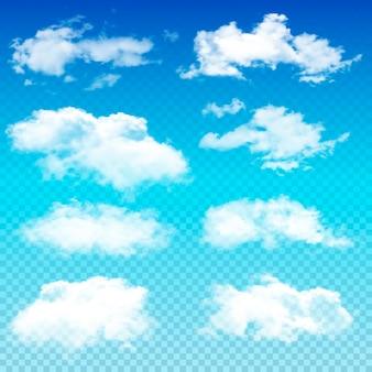 Conjunto de nuvens transparentes