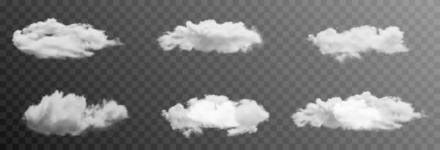 Conjunto de nuvens vetoriais ou fumaça em um fundo transparente isolado nuvem de fumaça nevoeiro png