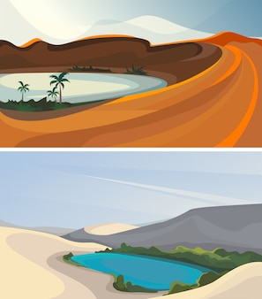 Conjunto de oásis. belas paisagens da natureza.