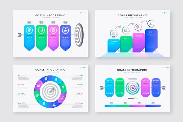 Conjunto de objetivos diferentes infográficos