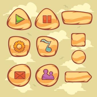 Conjunto de objeto de desenho animado para interface gráfica do usuário para criar jogos 2d em cores rgb