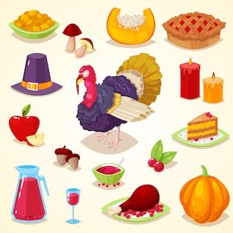 Conjunto de objeto de desenho colorido para o dia de ação de graças.