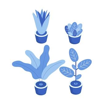 Conjunto de objeto de ilustração de planta. elemento vegetal para apresentação e cartaz. ilustração de projeto de planta.