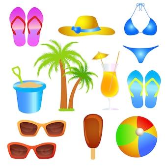 Conjunto de objeto de praia de férias de verão