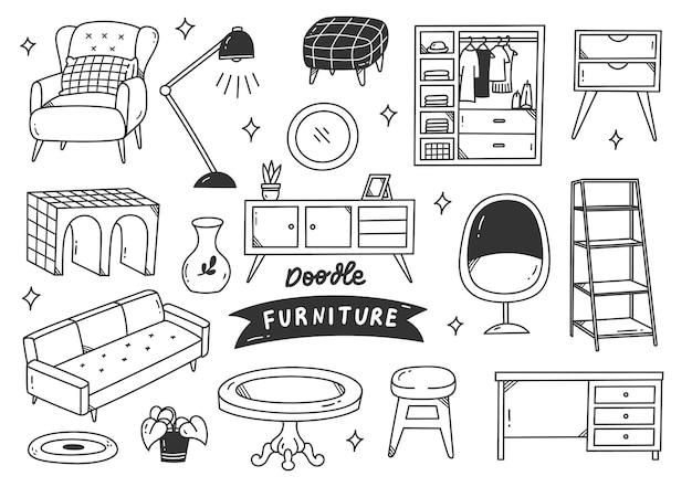 Conjunto de objeto interior desenhado à mão estilo doodle