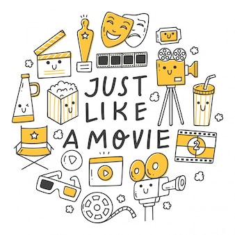 Conjunto de objeto relacionado ao filme no doodle de estilo kawaii