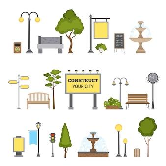 Conjunto de objetos ao ar livre