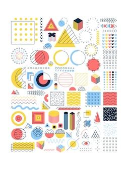 Conjunto de objetos coloridos de memphis. ilustração em vetor de símbolos poligonais e geométricos.
