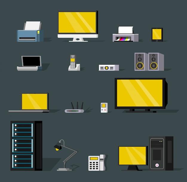 Conjunto de objetos coloridos de tecnologia sem fio