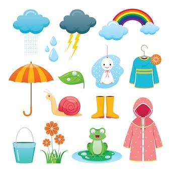 Conjunto de objetos da estação das chuvas