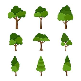Conjunto de objetos de árvores isolado no fundo branco