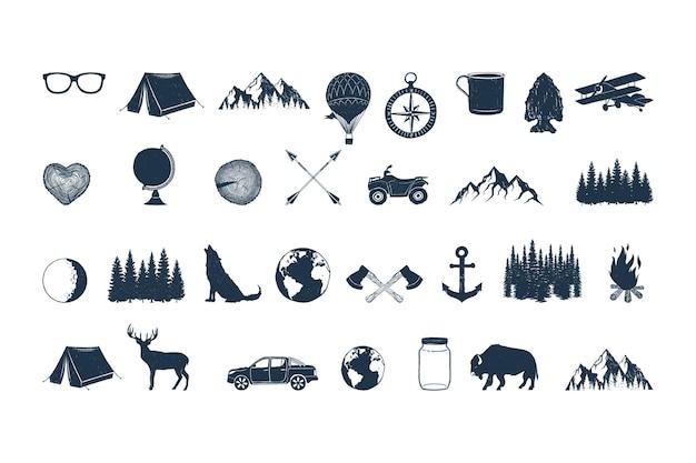 Conjunto de objetos de aventura desenhados à mão