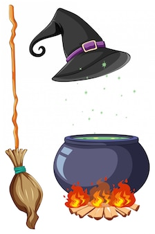 Conjunto de objetos de bruxa e assistente