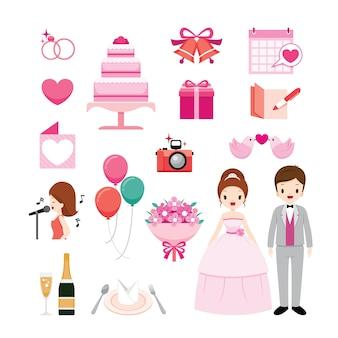 Conjunto de objetos de casamento, dia do casamento