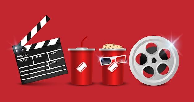 Conjunto de objetos de cinema isolados no vermelho
