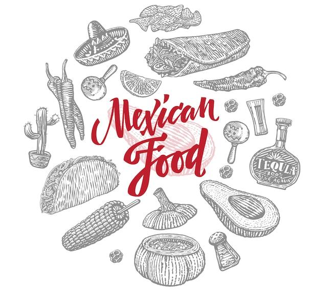 Conjunto de objetos de comida mexicana de esboço