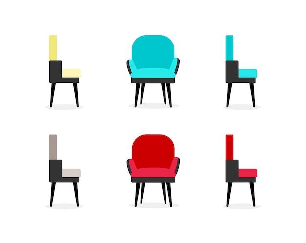 Conjunto de objetos de cor lisa de cadeiras. poltronas vistas frontais e laterais. móveis de escritório e casa. ilustração de desenho animado isolada de mobiliário de sala de estar para design gráfico web e coleção de animação