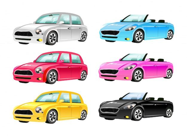 Conjunto de objetos de cor plana de carros. os automóveis 2d isolaram ilustrações dos desenhos animados no fundo branco. veículos terrestres de luxo sem teto e transporte pessoal vintage em cores diferentes