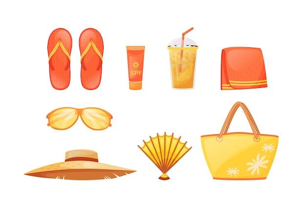 Conjunto de objetos de cor plana de fundamentos para banhos de sol. relaxamento de verão. equipamento de viagem. acessórios de praia. resort à beira-mar deve ter desenhos animados isolados em 2d