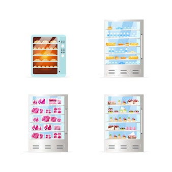 Conjunto de objetos de cor plana de geladeiras comerciais. forno com pão. congeladores com sobremesas, laticínios e carnes. cartoon isolado