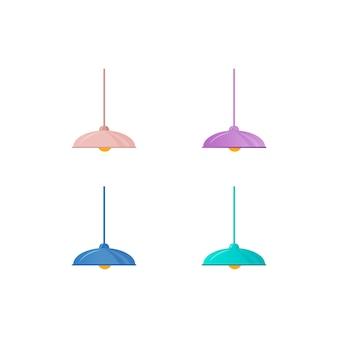 Conjunto de objetos de cor plana de lâmpada de teto colorido. iluminação do sotão do apartamento. vários desenhos animados isolados de lâmpadas penduradas