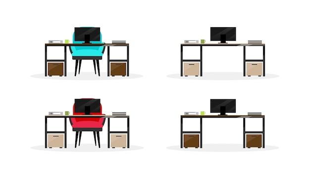 Conjunto de objetos de cor plana de mesa de computador. mesa para laptop com poltrona. local de trabalho moderno. mobiliário de escritório isolado ilustração de desenhos animados para web design gráfico e coleção de animação