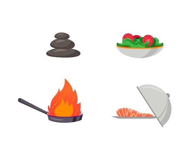 Conjunto de objetos de cor plana de preparação de cozinha. fogo na panela. bife de peixe no prato. prato de salada. desenho isolado de culinária de café